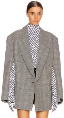Vetements Open Sleeve Jacket in Black & White Check | FWRD