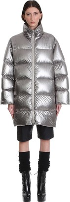 Moncler + Rick Owens Cyclopic Puffer In Silver Polyamide