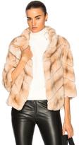 Yves Salomon Rabbit Fur Quarter Sleeve Jacket in Neutrals.