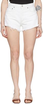AGOLDE White Denim Parker Cut-Off Shorts