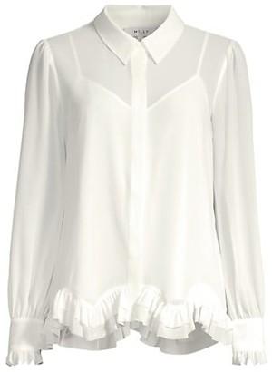 Milly Jenna Ruffle Hem Chiffon Shirt