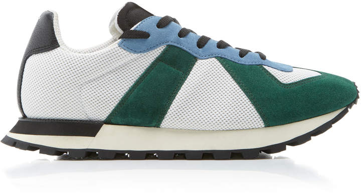 Maison Margiela Replica Leather-Trimmed Mesh And Suede Sneakers