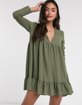 ASOS DESIGN v neck tiered mini smock dress in khaki