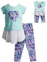 Dollie & Me Girls 4-14 Floral Heart Graphic Chiffon Dress & Floral Capri Leggings Set