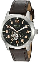 Fossil Men's ME3118 Pilot 54 Automatic Dark Brown Leather Watch