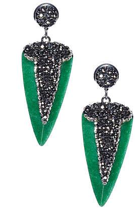Eye Candy Los Angeles Eye Candy La Fearless Green Dagger Shaped Stone With Pave Crystal