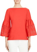 Lauren Ralph Lauren Laser Cut Bell Sleeve Top