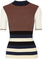 Opening Ceremony Striped Metallic Ribbed-knit Sweater - Navy