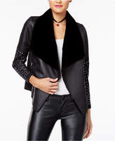 XOXO Juniors' Draped Faux-Leather Jacket