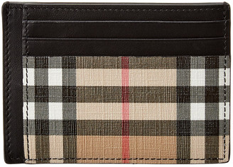 Burberry Chase Vintage Check E-Canvas & Leather Money Clip Card Case