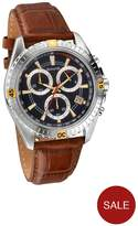 Accurist Blue Dial Brown Strap Mens Watch