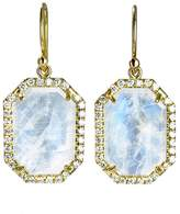 Irene Neuwirth Hexagonal Rose Cut Rainbow Moonstone Earrings with Pave Diamonds - Yellow Gold