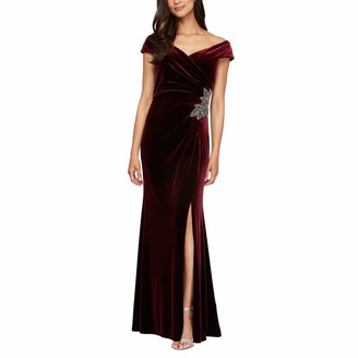 Alex Evenings Women's Long Off The Shoulder Fit and Flare Dress