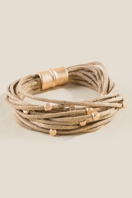 francesca's Stacey Beaded Suede Bracelet - Taupe