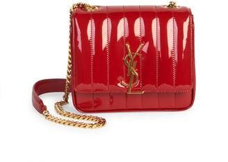 Saint Laurent Small Vicky Matelasse Patent Leather Shoulder Bag