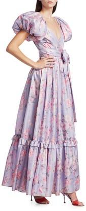 LoveShackFancy Ida Floral Puff-Sleeve Gown