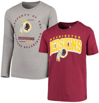 Redskins Outerstuff Youth Burgundy/Heathered Gray Washington Club Short Sleeve & Long Sleeve T-Shirt Combo Pack