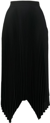 Tory Burch Pleated Handkerchief Hem Midi Skirt