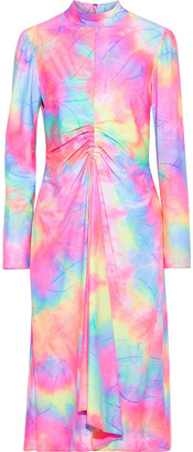 Sies Marjan Nara Ruched Glittered Tie-dyed Stretch-jersey Midi Turtleneck Dress