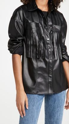 Blank Vegan Leather Fringe Jacket