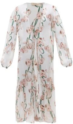 Adriana Degreas Aglio-print Silk-voile Robe - White Print