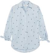 Madewell Shrunken Trapeze Printed Cotton-chambray Shirt - Navy