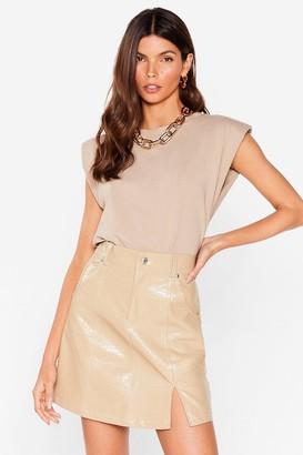 Nasty Gal Womens Slit Back Hard Faux Leather Croc Skirt - Beige - L