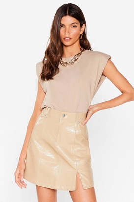 Nasty Gal Womens Slit Back Hard Faux Leather Croc Skirt - Beige
