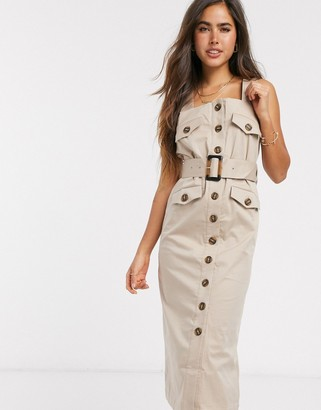 Y.A.S Talisa utility button front midi dress in cream