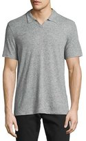 John Varvatos Short-Sleeve Johnny-Collar Polo Shirt, Gray