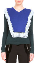 Altuzarra Ming Fringe-Bib Colorblock Sweater, Emerald