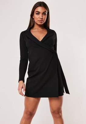Missguided Black Stretch Wrap Blazer Dress