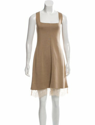 Valentino Knit Knee-Length Dress w/ Tags Beige