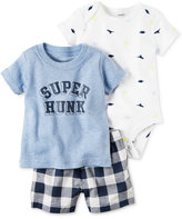Carter's 3-Pc. Super Hunk T-Shirt, Bodysuit & Shorts Set, Baby Boys (0-24 months)