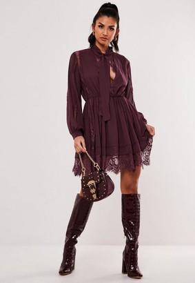 Missguided Plum Lace Trim Chiffon Mini Dress