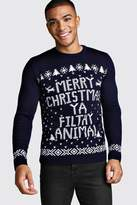 Boohoo Merry Christmas Ya Filthy Animal Jumper