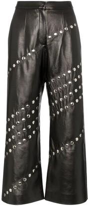 MATÉRIEL studded wide leg faux leather trousers