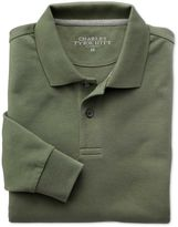 Charles Tyrwhitt Olive Pique Long Sleeve Cotton Polo Size XXL