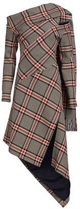 Monse Asymmetric Plaid Shawl Dress
