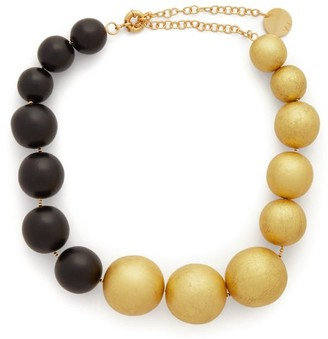 Vanda Jacintho - Wooden-bead Choker - Womens - Black Gold