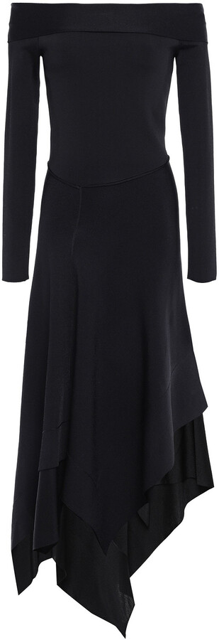 Victoria Beckham Off-the-shoulder Asymmetric Stretch-knit Midi Dress