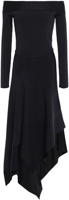 Victoria Beckham Off-the-shoulder Asymmetric Stretch-knit Midi Dress