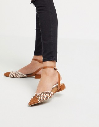 Asos DESIGN Location woven slingback ballet flats in tan/white
