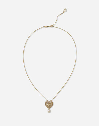 Dolce & Gabbana Devotion Necklace In Yellow Gold With Diamonds And Pearls
