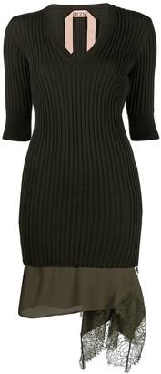 No.21 V-neck lace-hem dress