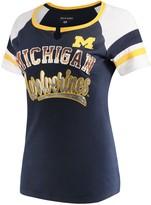 New Era Women's 5th & Ocean by Navy Michigan Wolverines Baby Jersey Split Scoop Neck Ringer T-Shirt