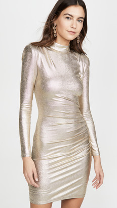 Alice + Olivia Hilary Ruched Mock Neck Dress