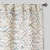 Cost Plus World Market Aqua and Green Geo Print Tab Top Jute Curtains, Set of 2