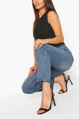 boohoo Petite High Rise Straight Leg Jeans