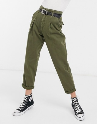 New Look high waist slim jean in khaki